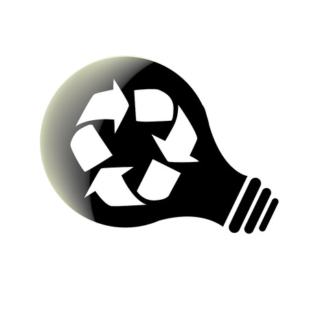 recyclable: a black silhouette of a lightbulb with a recyclable symbol inside it