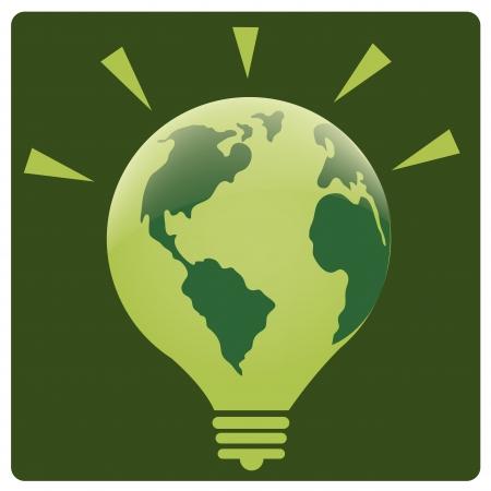 glowing skin: una bombilla verde con el planeta como su piel