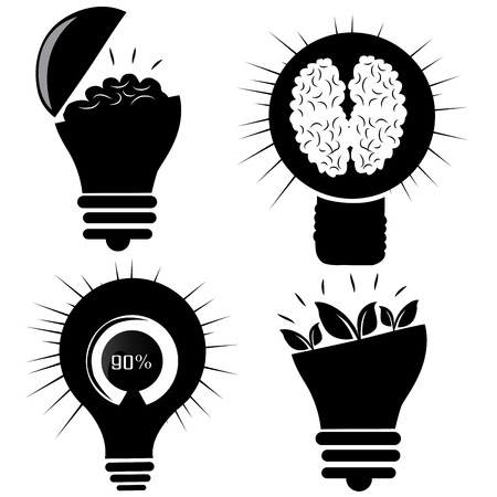 four black silhouettes of lightbulbs with different elements inside them Vector