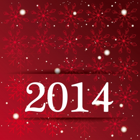 a red background with some snowflakes and text for new year Illusztráció