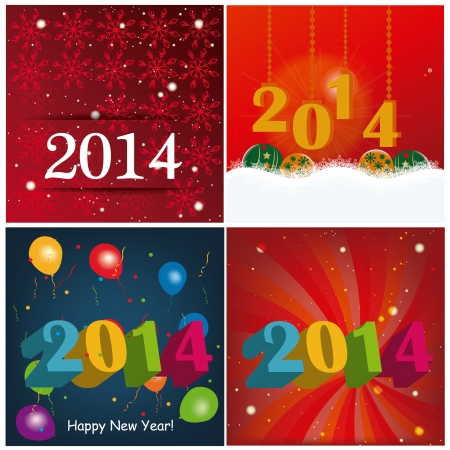 emphasized: four different and colored backgrounds for this new year