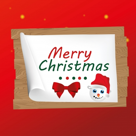 a happy snowman in a christmas card in red background Vector