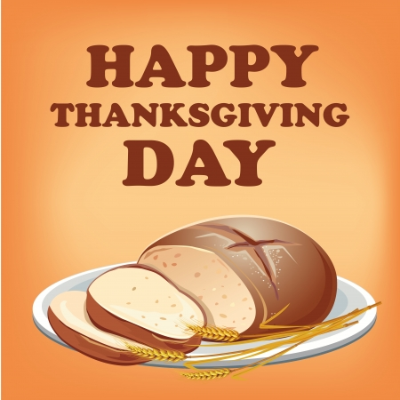 a brown bread with wheat in a white dish for thanksgiving Vector