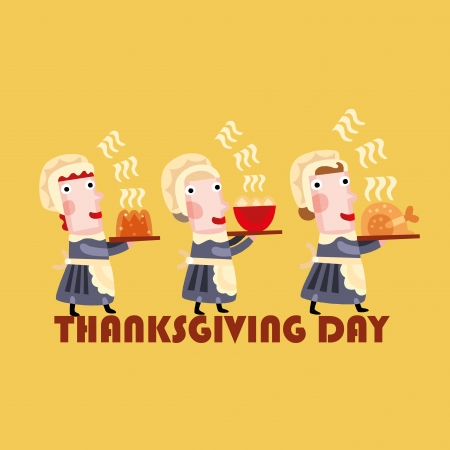 thanksgiving day: three happy women with some hot food for thanksgiving day Illustration
