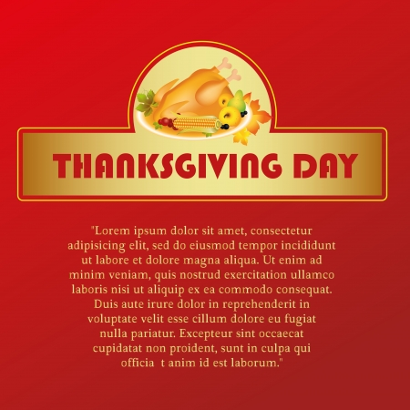 some food with text in a red background for thanksgiving day Vector