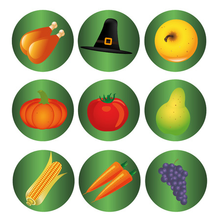 nine green icons with some food and a hat for thanksgiving day Vector