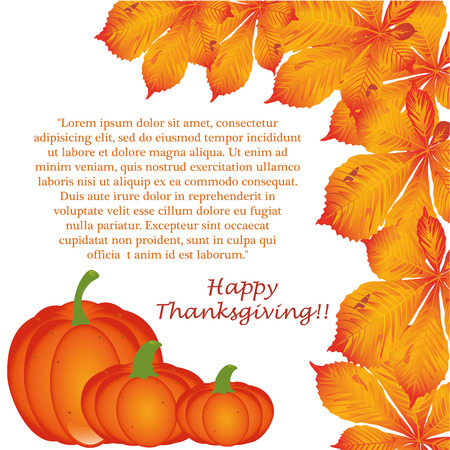 three pumpkins with leaves and text for thanksgiving day Illustration