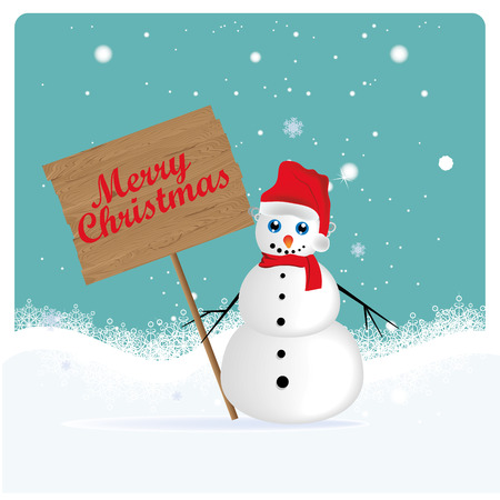 a happy white snowman in christmas Vector
