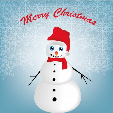 a happy white snowman in christmas with some text Vector