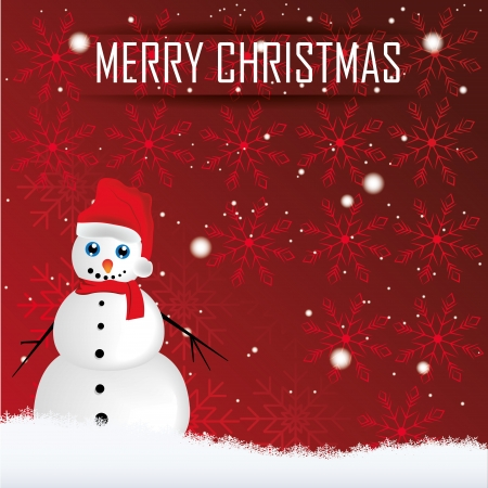 a happy snowman with a red hat for christmas Vector