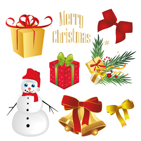 a lot of elements for christmas with colors Vector