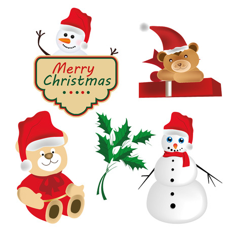 five different element related to christmas with colors Vector