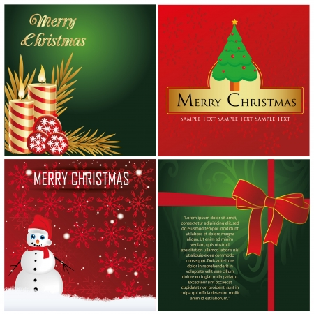 four different backgrounds for christmas with some trees and snowman Vector