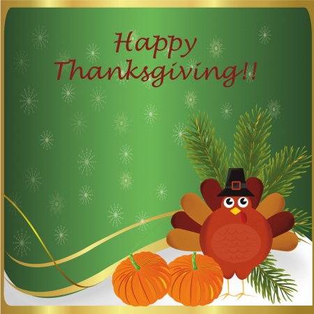 a turkey with some pumpkins for thanksgiving day Vector