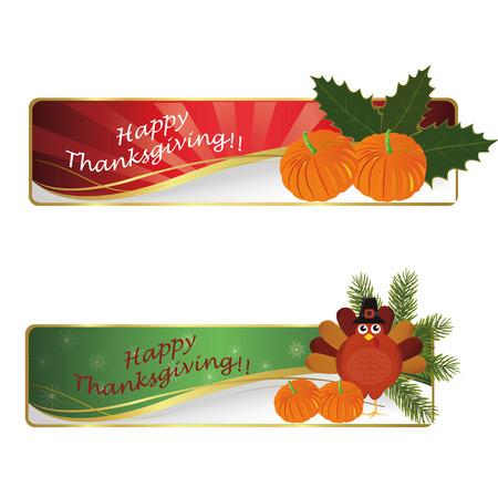 pumpkin border: two signatures with pumpkins and a turkey for thanksgiving day