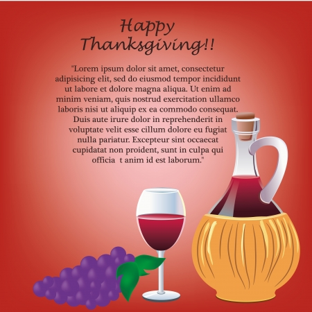 a bottle of wine with a glass and grapes with text for thanksgiving day Vector