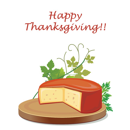a piece of cheese with some leaves around it for thanksgiving day Vector