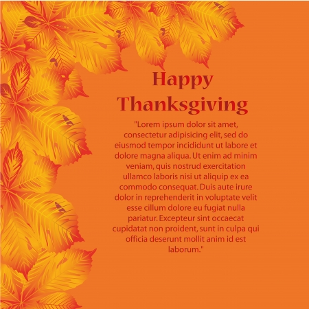 some yellow and red leaves with some text for thanksgiving Vector