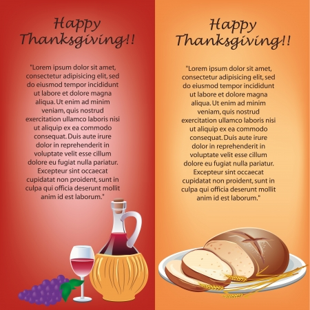 a red and yellow banners for thanksgiving day with text and food Vector