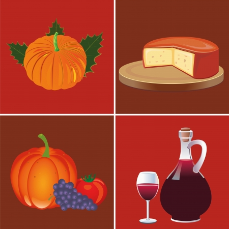 four different background with food and drinks for thanksgiving day Vector