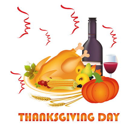 a lot of food with wine for thanksgiving day Vector