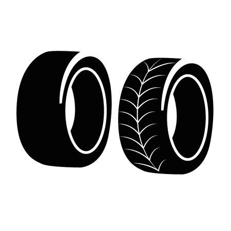 small tools: two black silhouettes of tires with white design within it