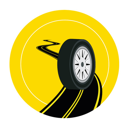 a black tire with white steel in a road in a yellow icon Vector