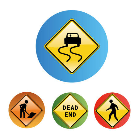 four colored round icons of cars, repairs and symbols Vector