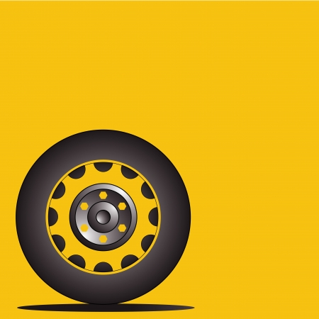 a black silhouette of a tire in a yellow background Vector