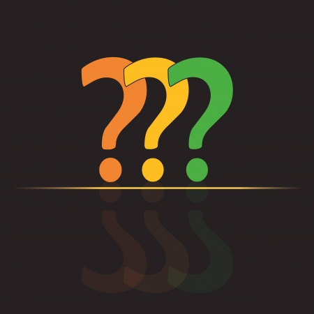 three colored question marks in a group with reflections in the background Vector