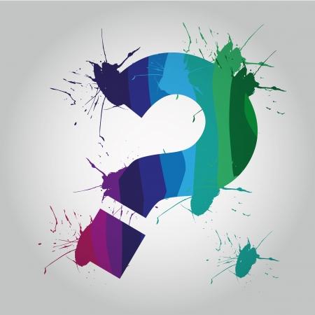 unsure: un punto interrogativo di colore con macchie intorno ad esso Vettoriali