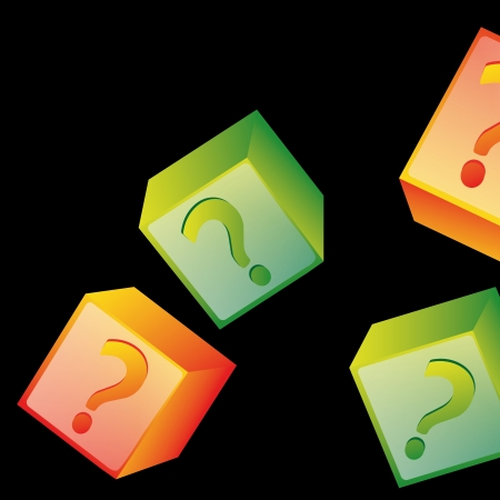 four colored boxes with question marks inside it in black background Vector