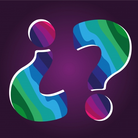 two question marks with a lot of colors in a purple background Vector