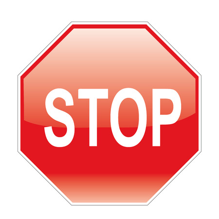 a red signal with a stop warning in it Stock Illustratie