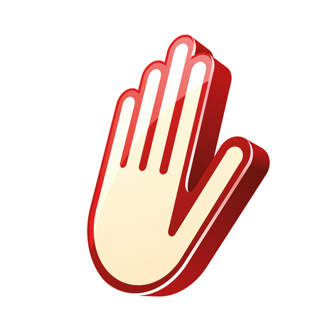 denying: a white hand signal denying something with red borders