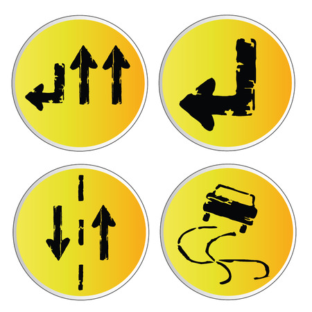 manage transportation: four different yellow round signals with arrows and car Illustration