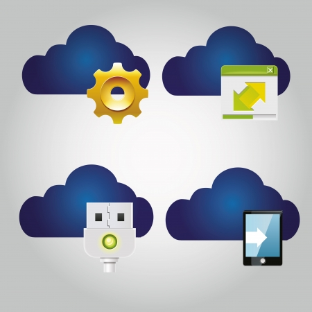 four blue clouds with a lot of icons near them  Vector