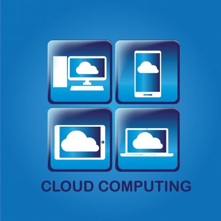 four blue icons with different devices sharing information in cloud Vector