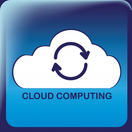 a white cloud blue arrows inside it in a blue squared icon Illustration