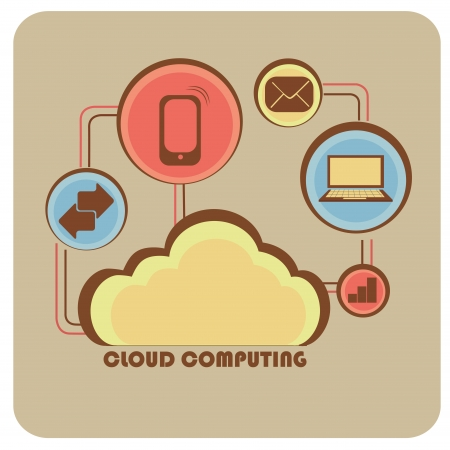 a yellow cloud with relations to a lot of devices and functions Stock Vector - 24163753