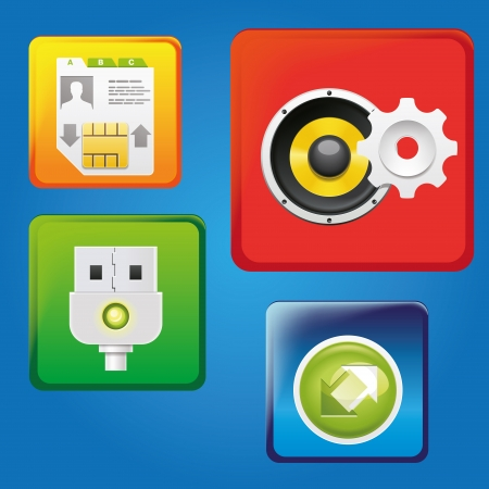 four different colorful icons with different functions for cloud Vector