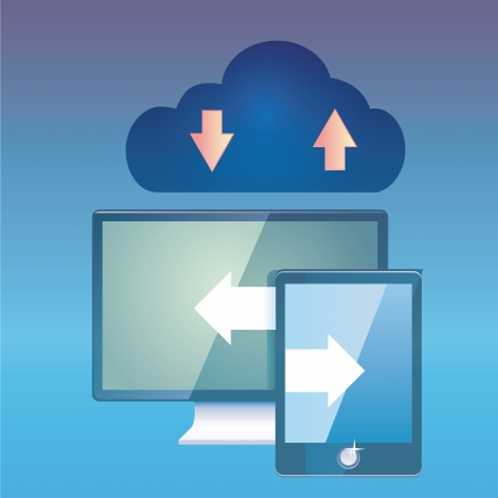 a blue cloud with two different screens and arrows Stock Vector - 24163785