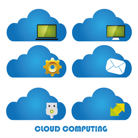 six different blue clouds with colored icons inside it Stock Vector - 24163812