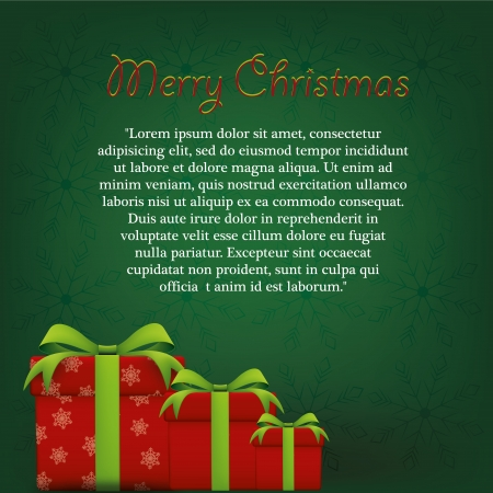 three red presents wrapped in green ribbons for christmas Vector