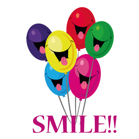 a lot of colored balloons with a smile Vector