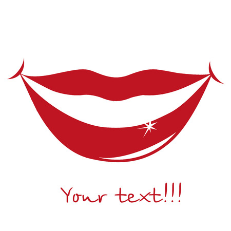 red silhouette of some beautiful lips and text Vector
