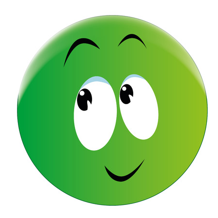 a green round face with a little smile Vector