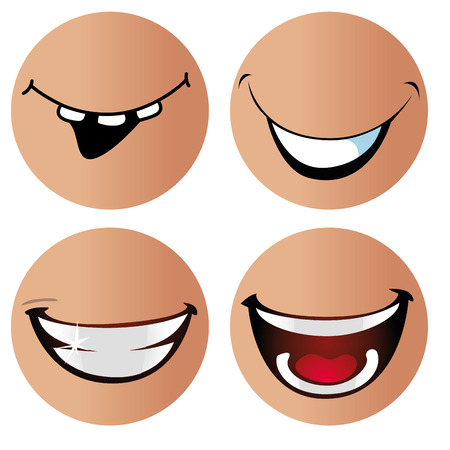 four eyes: four different kind of smiles in different round faces with no eyes