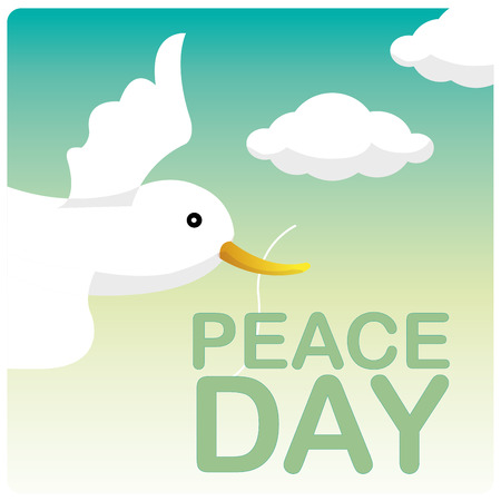 white bird: a white bird in the sky for the peace day
