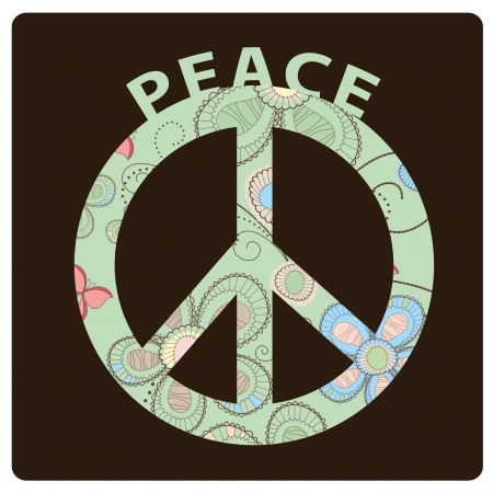 the peace symbol with some elements inside like flowers and butterflies Vector
